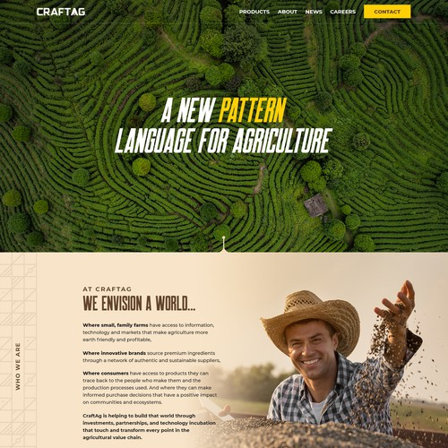 Web page design for agriculture company
