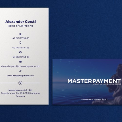 Corporate Modern Business Card Design for Master Payment