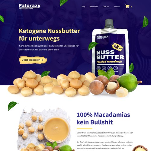 Landing page design for macadamia nut butter