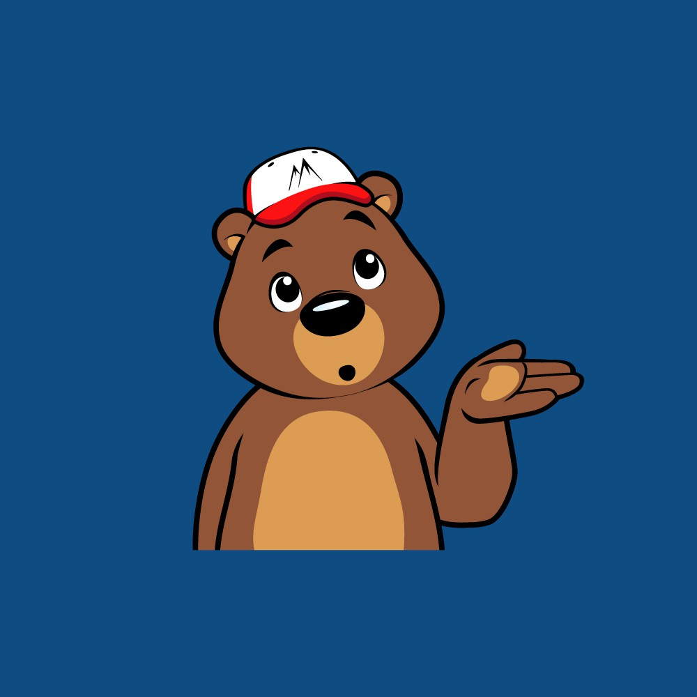 Funny and cheeky Bear character for a new kids product