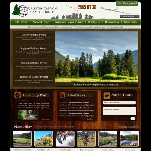Website design for Gallatin Campgrounds