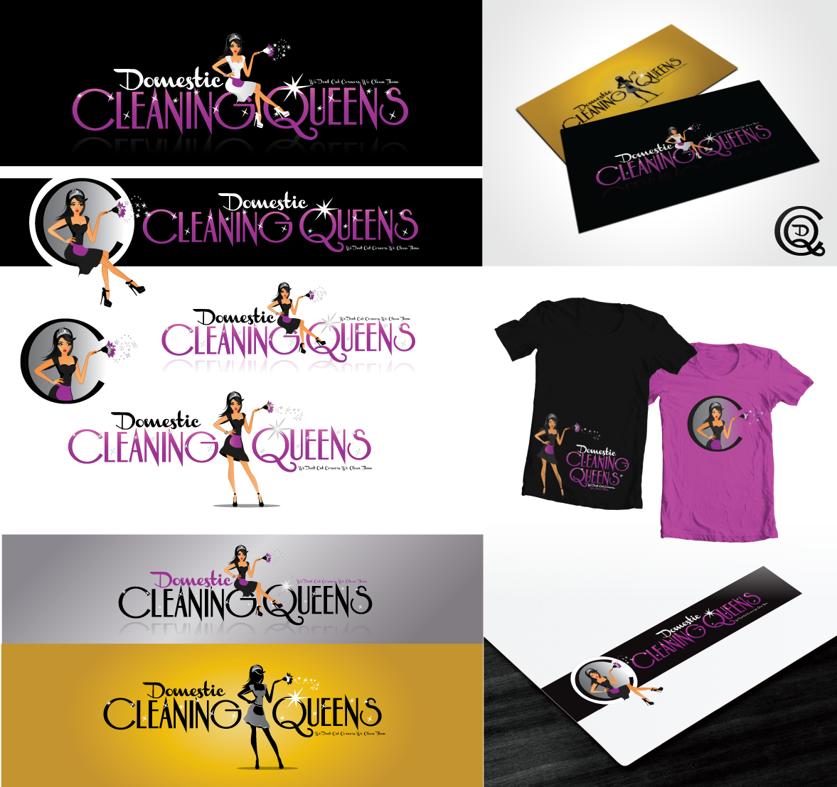 Create a CLASSIC logo for 'Domestic Cleaning Queens'