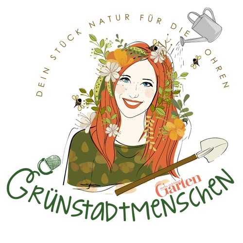 Organic and feminine logo for a Gardening Podcast