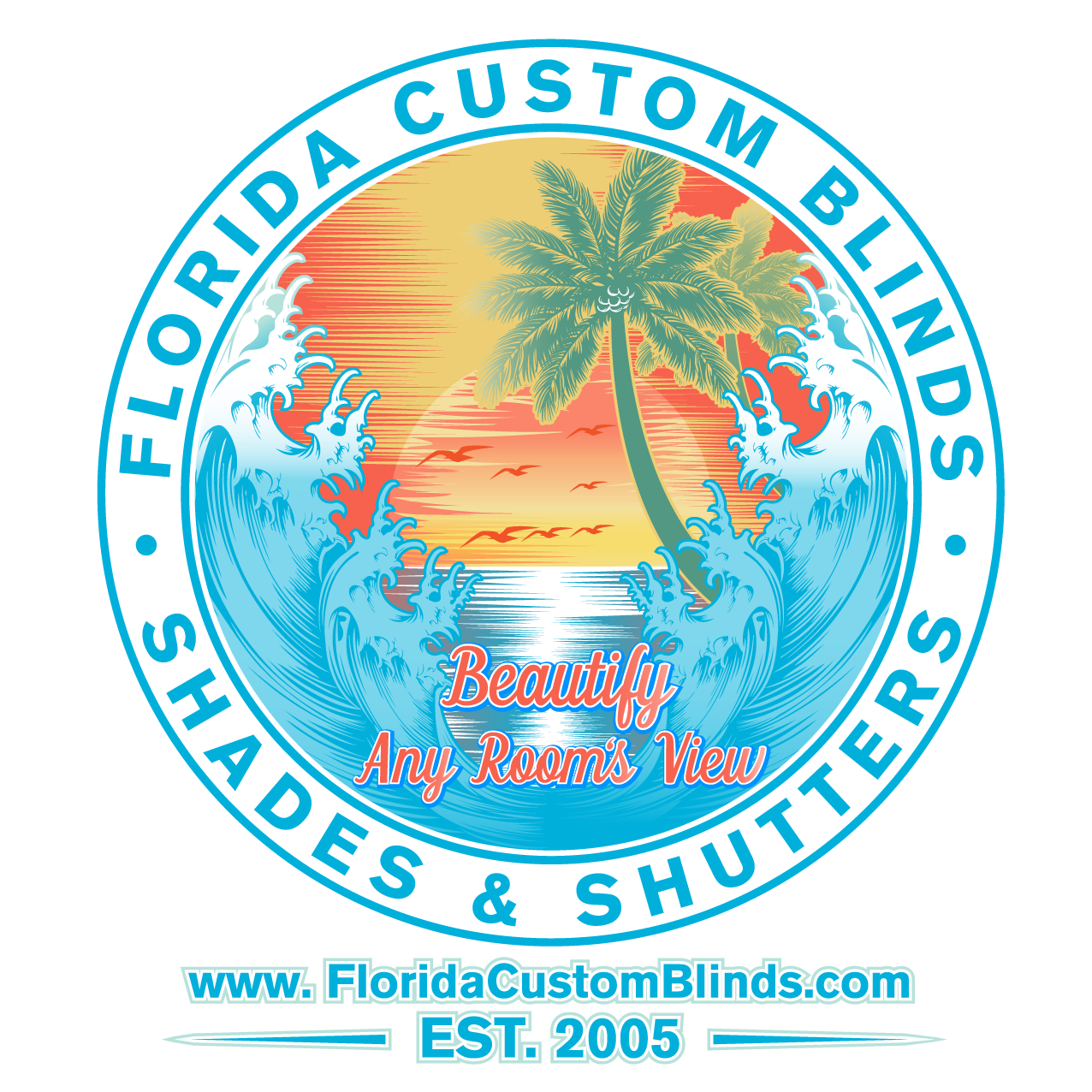 Design a vintage style t-shirt for an established Florida window covering company.