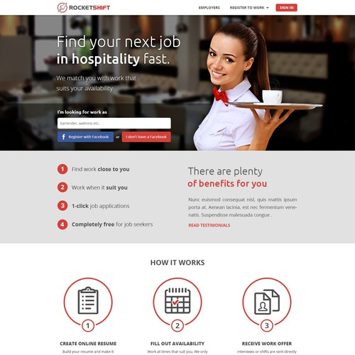 Landing page for a casual hospitality job website