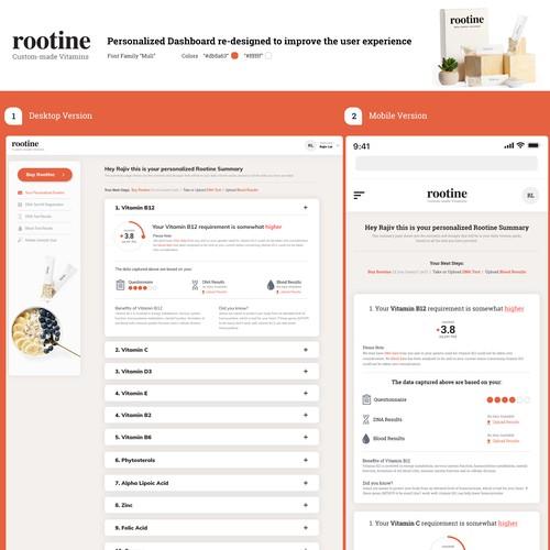 Web app design for a healthcare startup