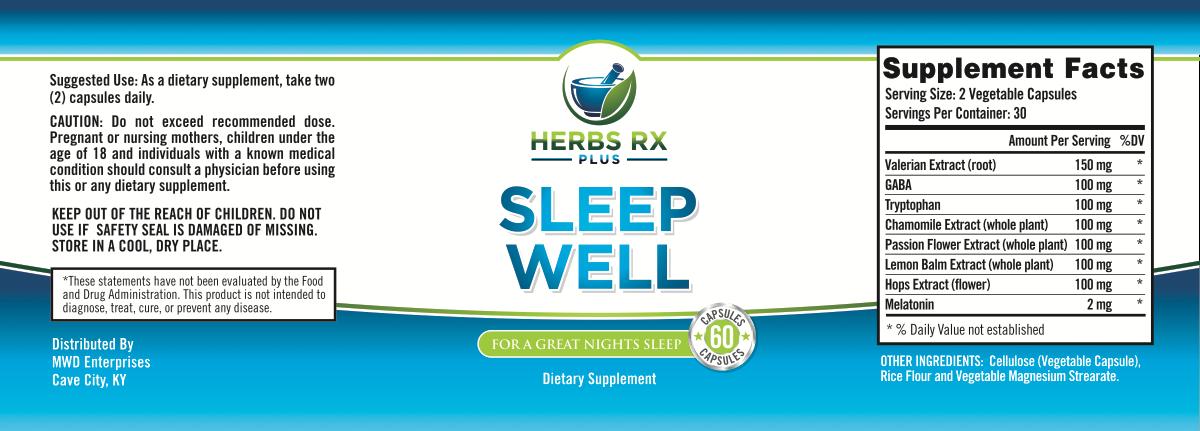 Label design for a sleep aid product called Sleep Well