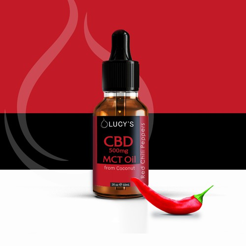 medicine dropper label for a new CBD Chili Oil Product with MCT