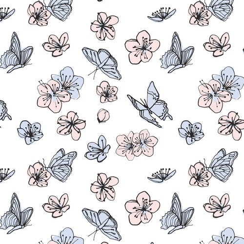 Cherry Blossom + butterflies, for swaddle blanket.