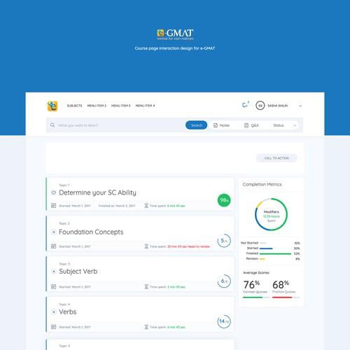 e-GMAT Course page
