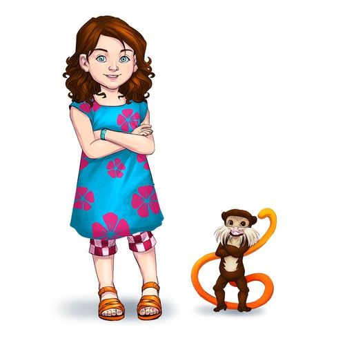 Girl And Tamarin