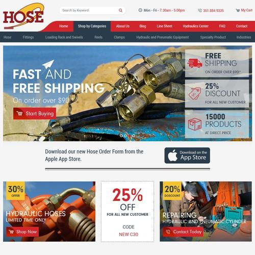 ew E-Commerce site for Hose Distributor