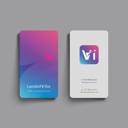 Clean and vibrant business card for landedvibe.
