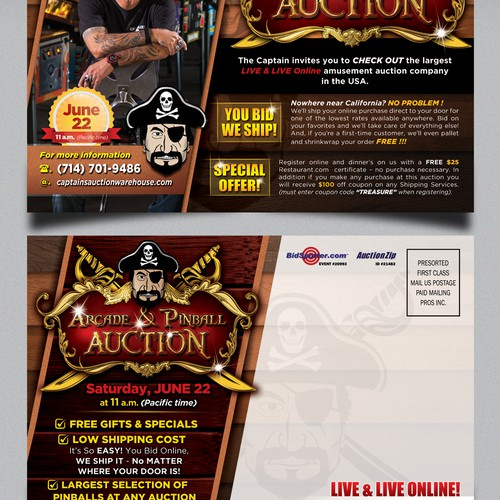 Create the next postcard or flyer for Captains Auction Warehouse
