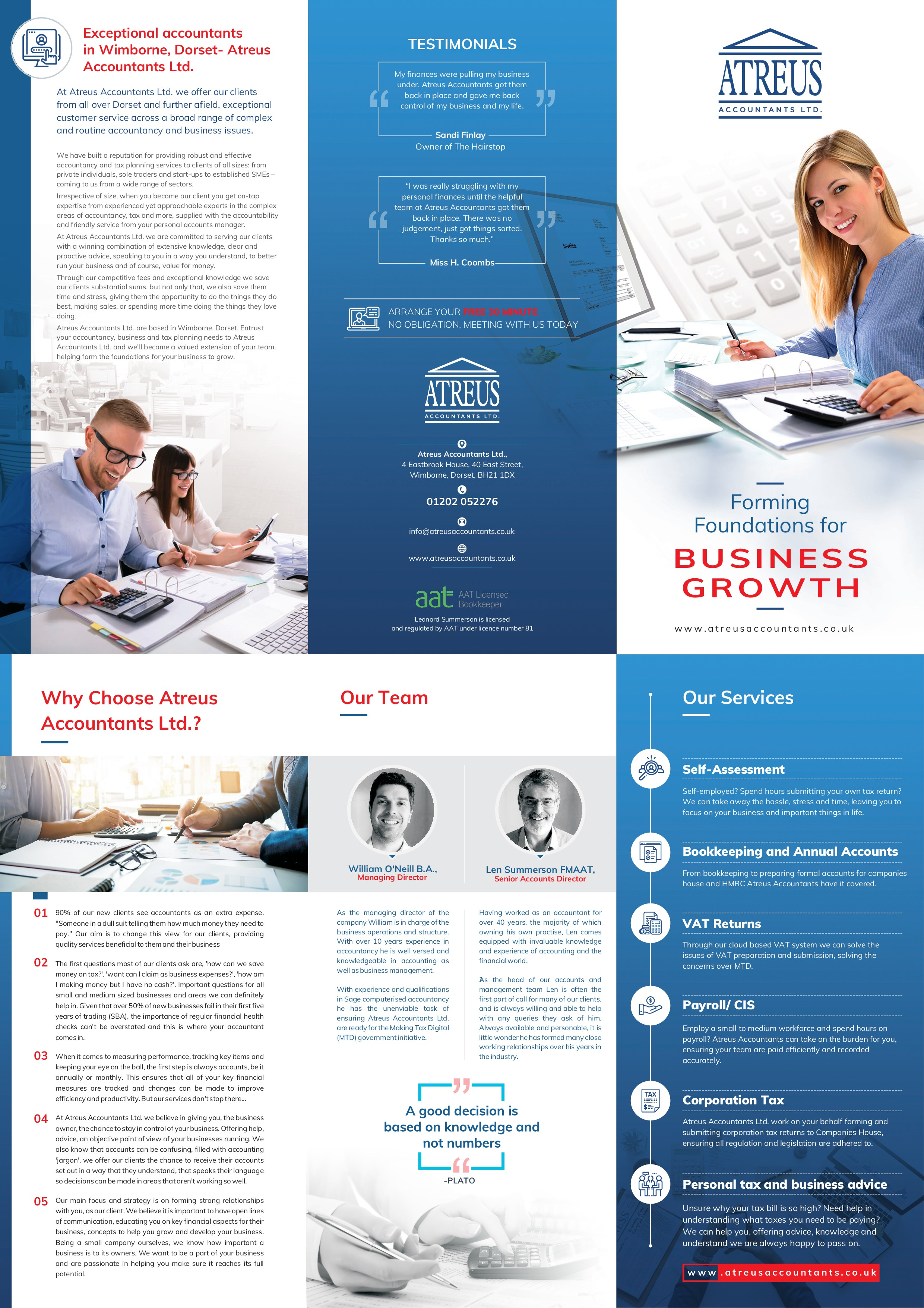 Create an attactive, professional brochure for Atreus Accountants