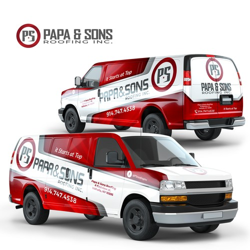Full Van Wrap Design For Papa & Sons Roofing Inc