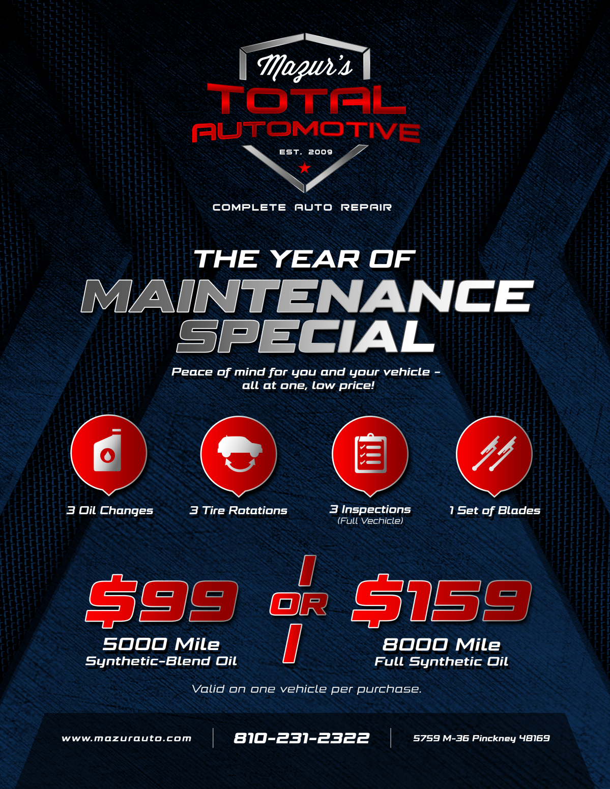 Flyer for oil change package for auto repair center
