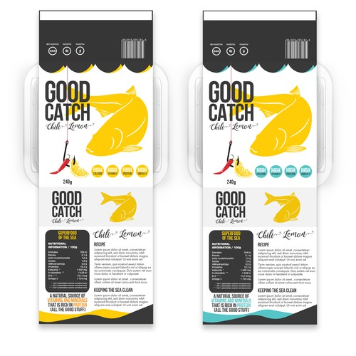 Label design concept for fish product.