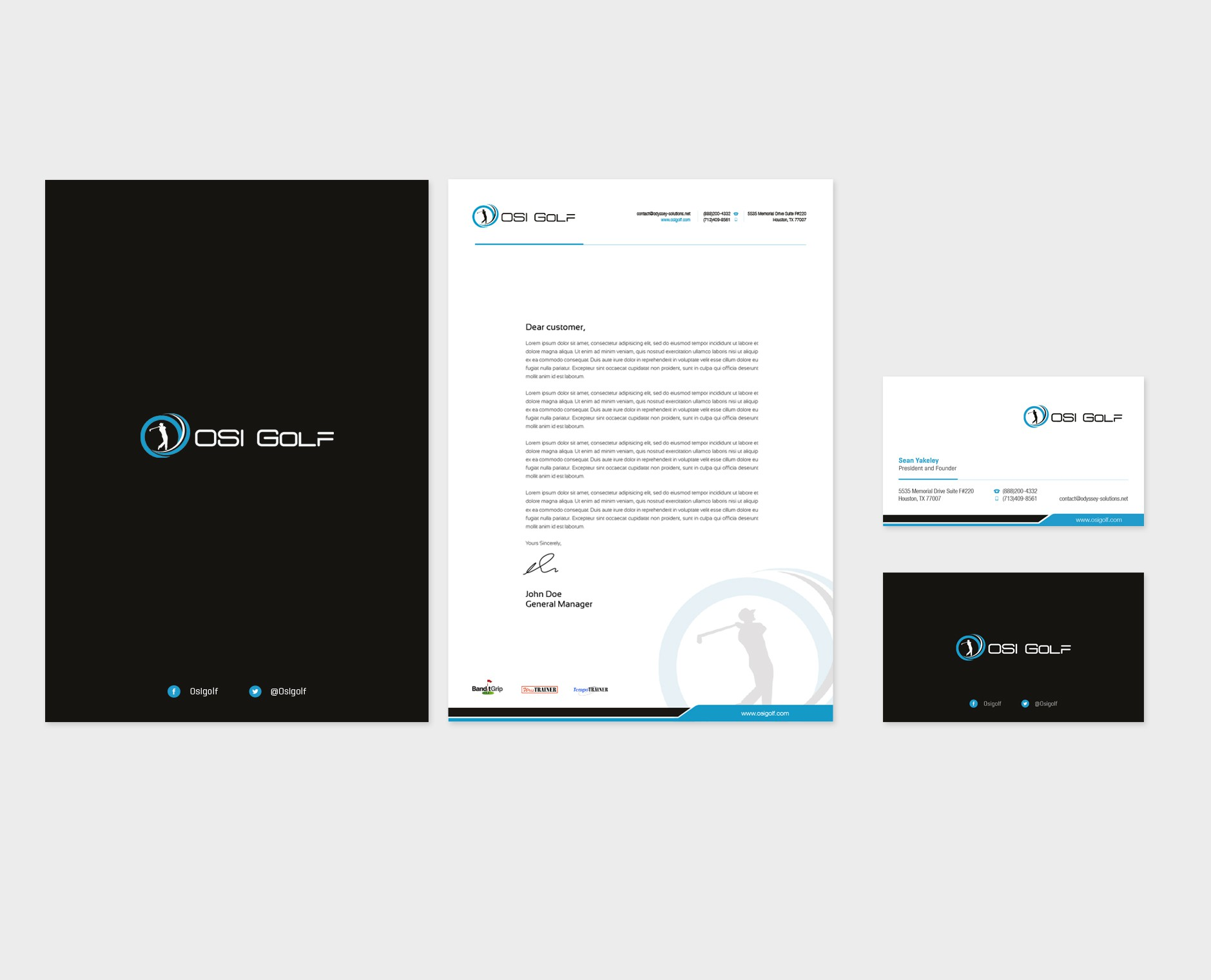 Create the next Business Card and Letterhead for OSI Golf