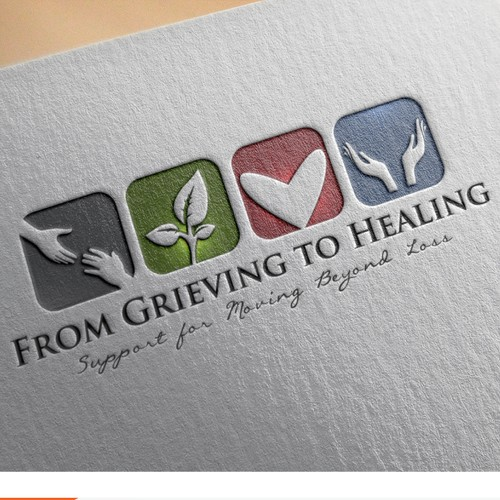 Illustrated logo for GRIEVING TO HEALING