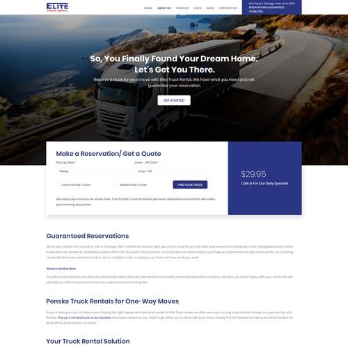 Elite truck Rental company landing page