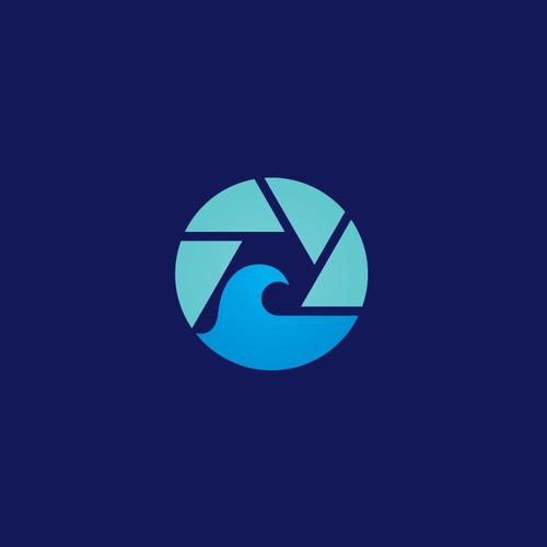 wave & camera - logo concept