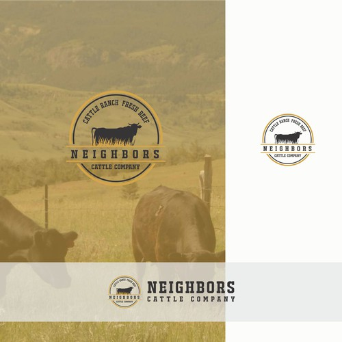 Agriculture + cow + ranch for symbolize cattle company and fresh beef