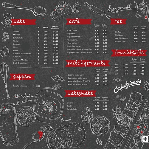 Menu board design for Cakefriends - Berlin