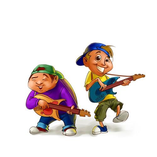 Singing cartoon boys