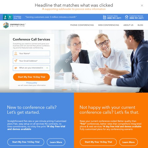 Design a Powerful High Conversion Website for Conference Calls Unlimited