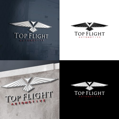 Strong and elegant logo inspired by automotive and aviation.