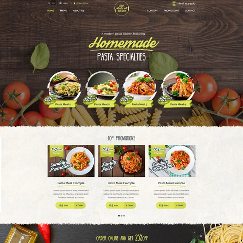 Website for a homemade pasta restaurant chain