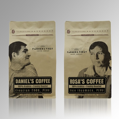 Ethical coffee company's first packaging/bag