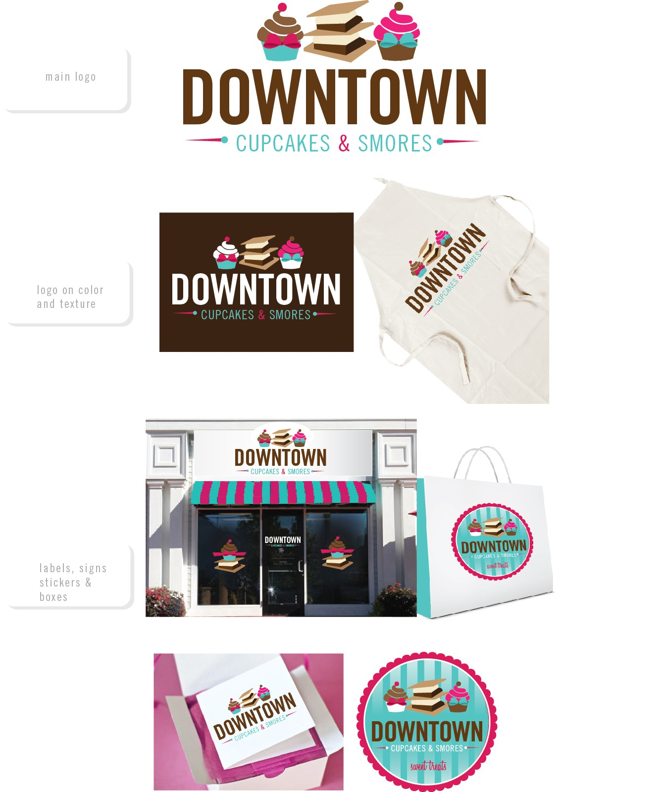 Create the next logo for downtown CUPCAKES & SMORES