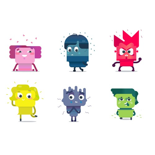Сharacters design for icons which represent emotions
