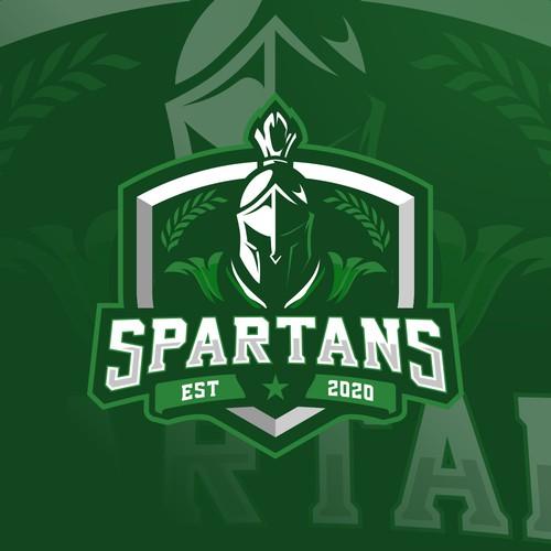 Athletic Spartan Head Logo for new Charter school