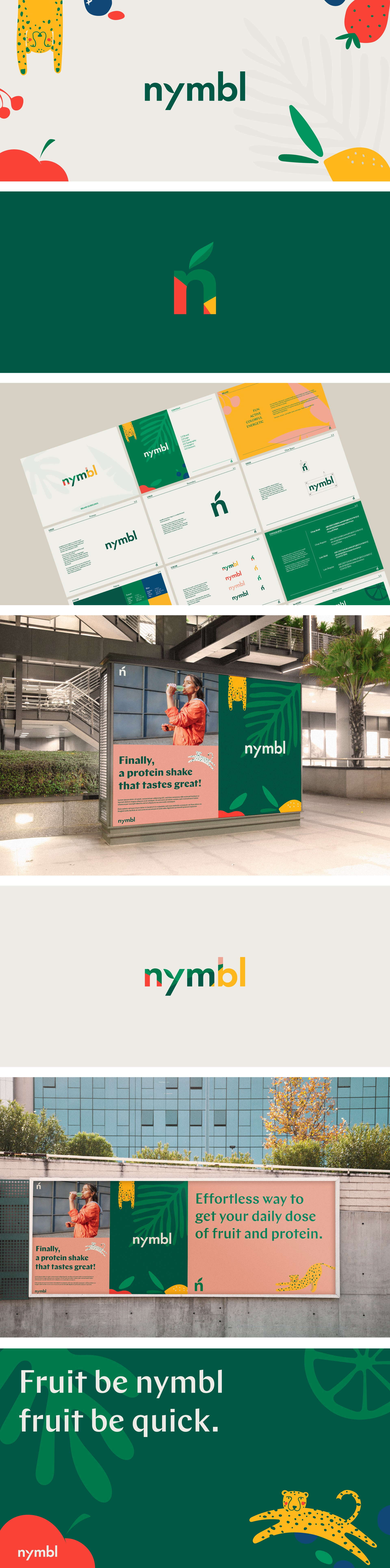 branding for fruit-based protein drink: nymbl