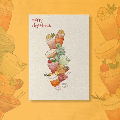 christmas card design about cocktails