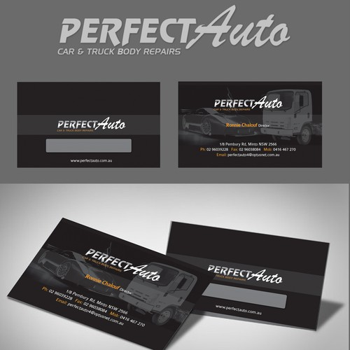 Create a business card for Perfect Auto