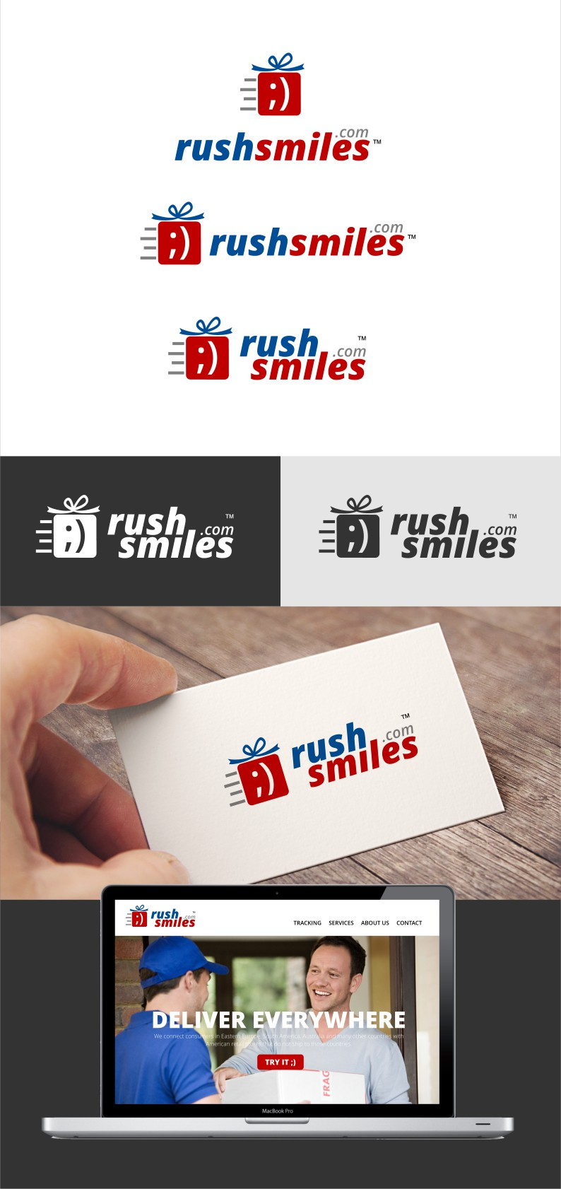Create logo for mail forwarder and shopping assistant Rush Smiles!