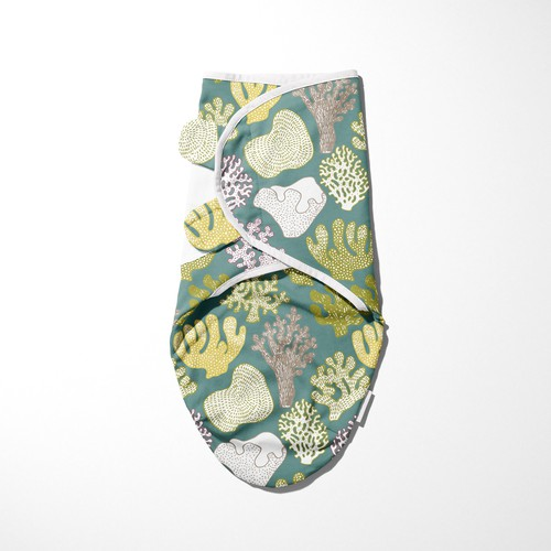 Unisex baby swaddle pattern coral