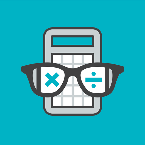 A logo for a nerdy tax consultant super hero