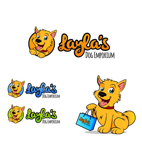 """logo for an online dog accesories shop """"layla's dog emporium"""""""