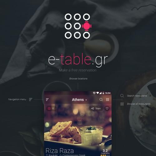 e-table mobile app design concept