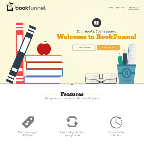 Simple web design for Ebook website
