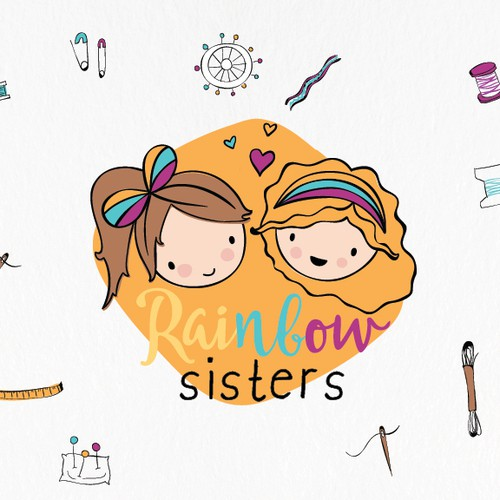 Adorable sisters illustration for their bag company