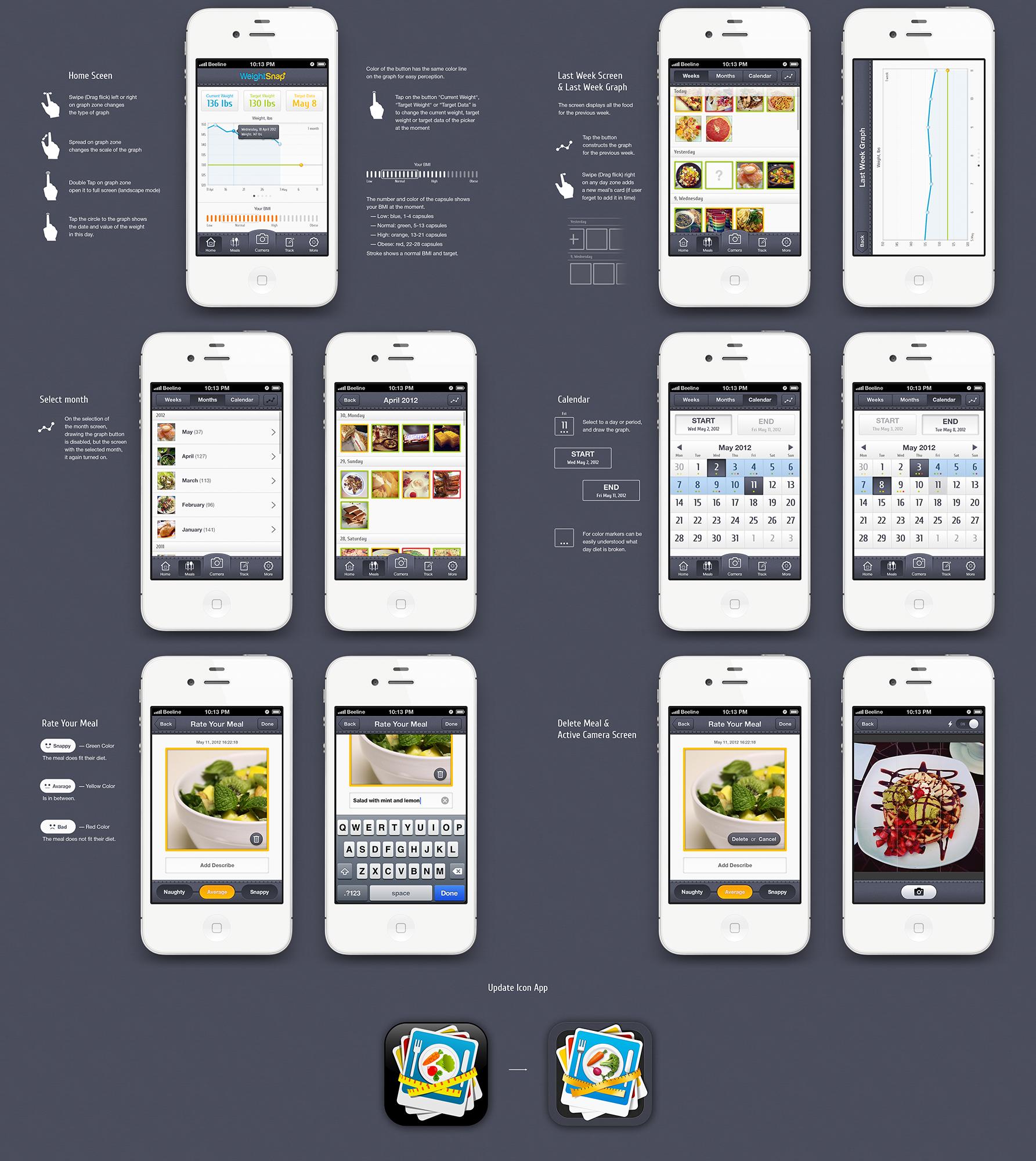 Weight Loss iPhone App - Screen Designs