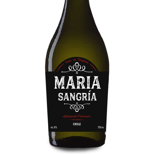 Retro label for Chile Sangria