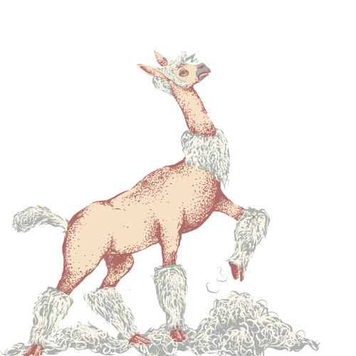 Unleash your favorite art style on a humorous and proud sheared alpaca