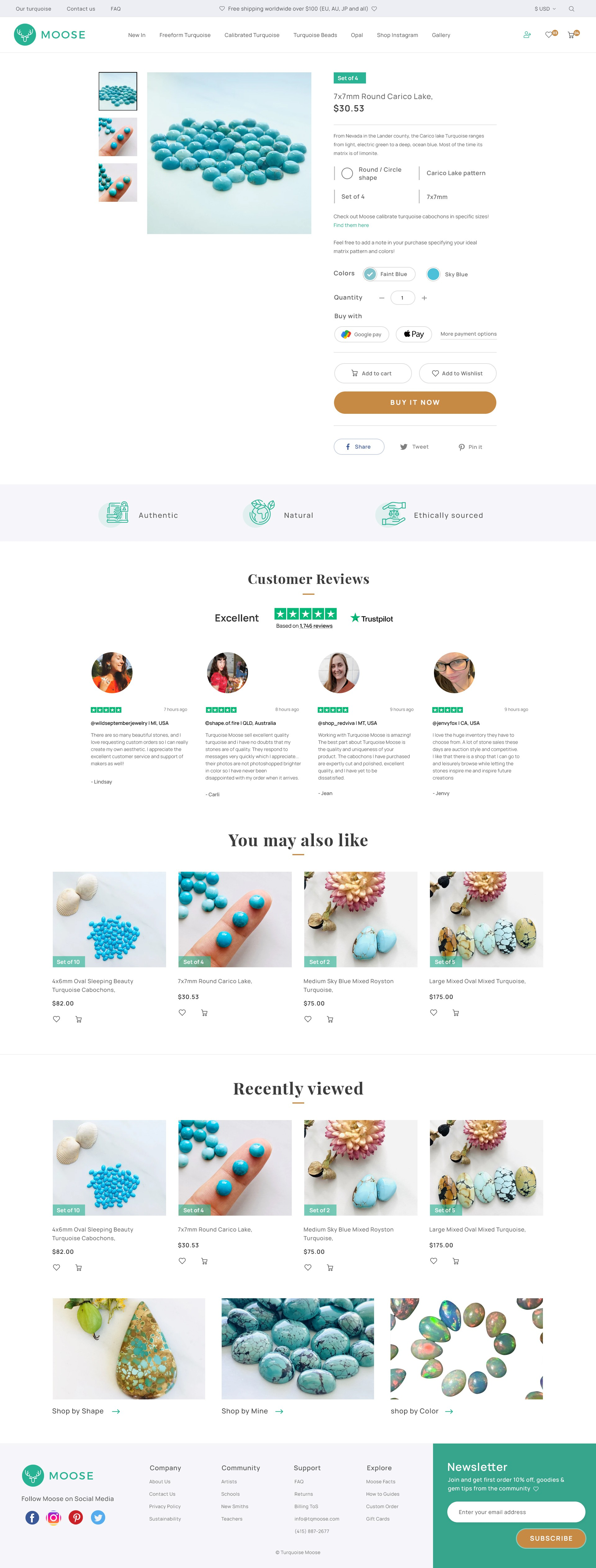 Design a gemstone supplier Shopify site to attract jewelry designers
